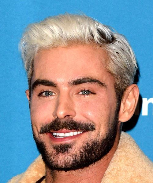 Zac Efron Short Straight Casual    Hairstyle   - Light Platinum Blonde Hair Color - Side View