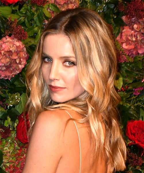 Annabelle Wallis Long Wavy Casual    Hairstyle   -  Blonde Hair Color with  Brunette Highlights - Side View