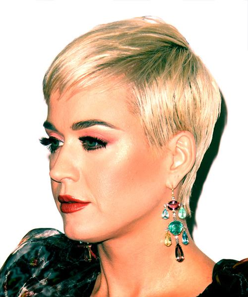 Katy Perry      Blonde Pixie  Cut with Blunt Cut Bangs  - Side View