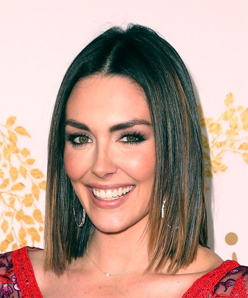 Taylor Cole Medium Straight Formal  Bob  Hairstyle   - Dark Copper Brunette Hair Color - Side View