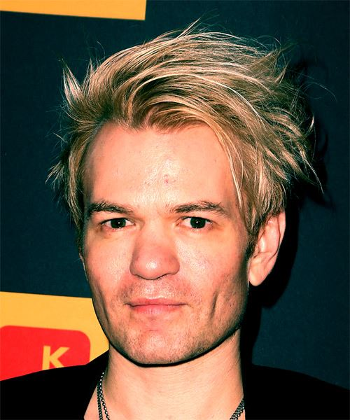 Deryck Whibley Short Straight Casual    Hairstyle with Side Swept Bangs  -  Blonde and Light Blonde Two-Tone Hair Color - Side View