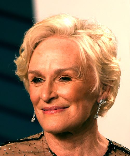 Glenn Close Short Wavy Casual  Bob  Hairstyle with Side Swept Bangs  - Light Blonde Hair Color - Side View