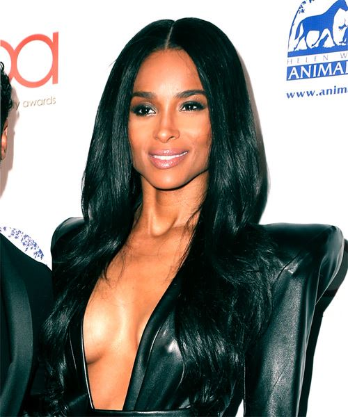 Ciara Long Straight Formal    Hairstyle with Layered Bangs  - Black  Hair Color - Side View