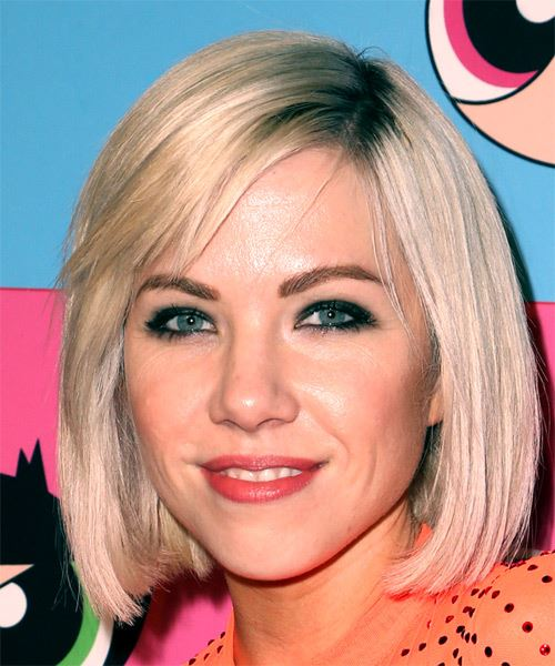 Carly Rae Jepsen Medium Straight   Platinum and  Blonde Two-Tone Bob  Haircut with Blunt Cut Bangs  - Side View