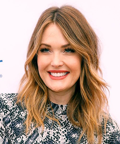 Amy Purdy Long Wavy   Dark Brunette   Hairstyle with Layered Bangs  and Dark Blonde Highlights - Side View