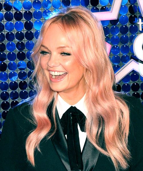 Emma Bunton Long Wavy Casual    Hairstyle with Layered Bangs  - Pink  Hair Color - Side View
