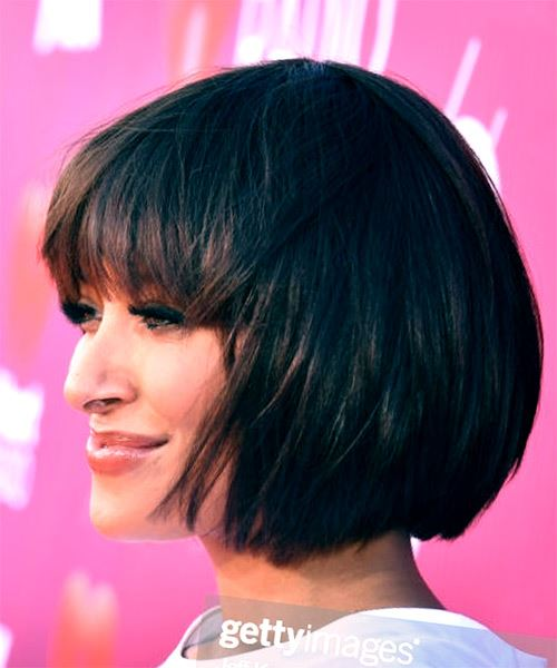 Kat Graham Short Straight   Black  Bob  Haircut with Blunt Cut Bangs  - Side View