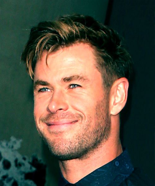 Chris Hemsworth Short Straight Casual    Hairstyle with Side Swept Bangs  - Dark Brunette Hair Color with  Blonde Highlights - Side View