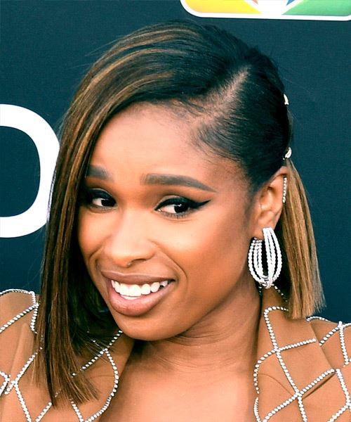Jennifer Hudson Medium Straight Formal  Bob Half Up Hairstyle with Blunt Cut Bangs  - Black  Hair Color with  Blonde Highlights - Side View