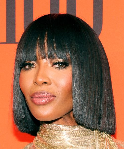 Naomi Campbell Medium Straight Formal  Bob  Hairstyle with Blunt Cut Bangs  - Black  Hair Color - Side View