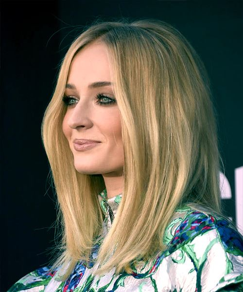 Sophie Turner Long Straight    Blonde   Hairstyle with Side Swept Bangs  - Side View