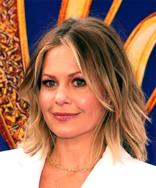 Candace Cameron Medium Wavy    Brunette Bob  Haircut with Layered Bangs  and Light Blonde Highlights - Side View