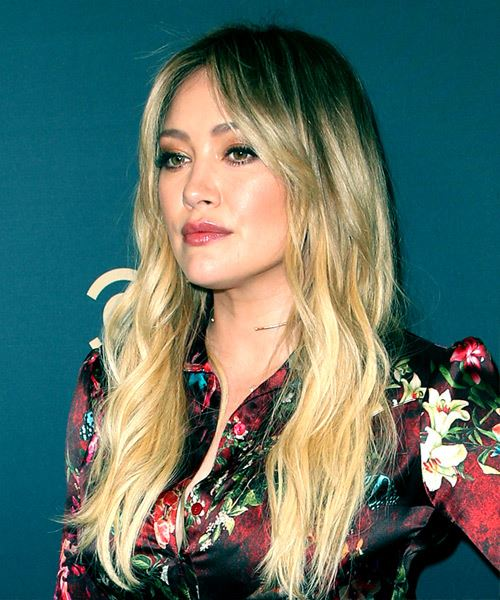 Hilary Duff Long Wavy    Brunette and Light Blonde Two-Tone   Hairstyle   - Side View