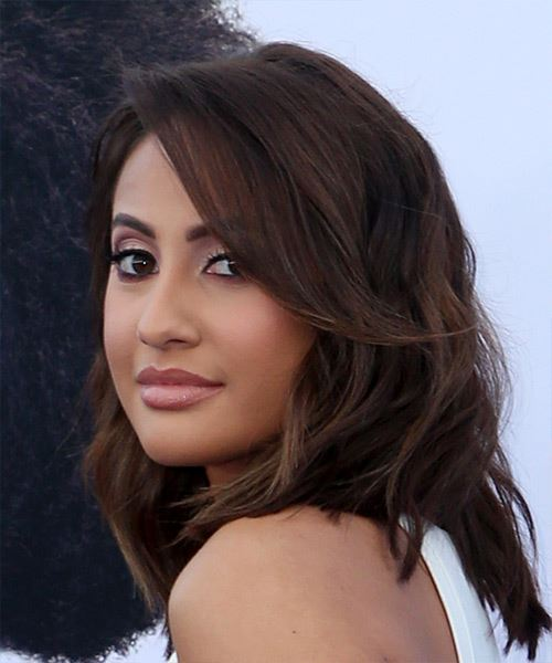 Francia Raisa Medium Wavy   Black  Bob  Haircut with Blunt Cut Bangs  - Side View