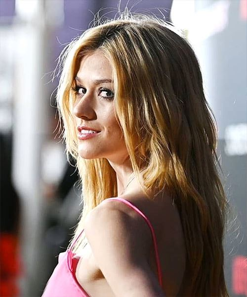 Katherine McNamara Long Wavy Casual    Hairstyle with Side Swept Bangs  -  Blonde Hair Color - Side View