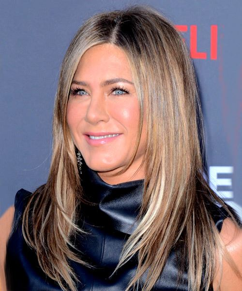 Jennifer Aniston Long Straight    Brunette   Hairstyle with Side Swept Bangs  and Light Blonde Highlights - Side View