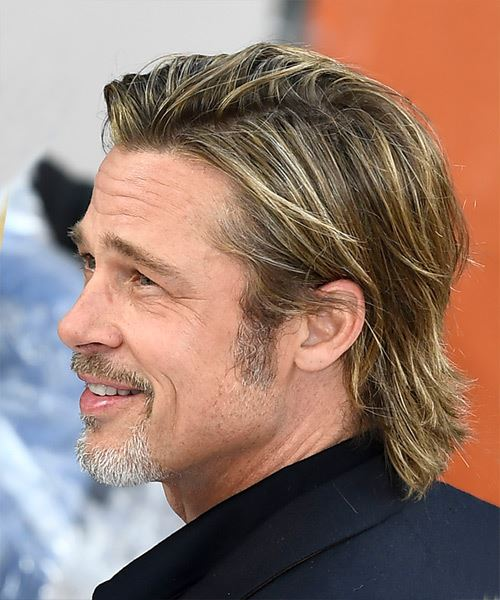 Brad Pitt Short Straight    Copper Brunette   Hairstyle with Layered Bangs  - Side View