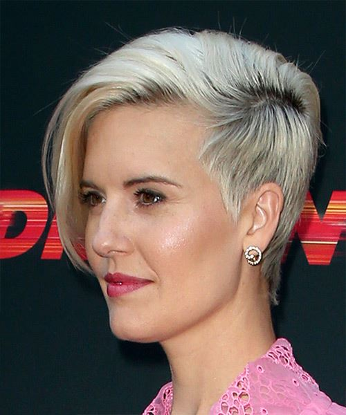 Maggie Grace     Light Grey Pixie  Cut with Side Swept Bangs  - Side View