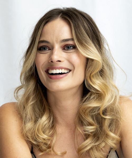 Margot Robbie Long Wavy    Brunette and  Blonde Two-Tone   Hairstyle with Layered Bangs  - Side View