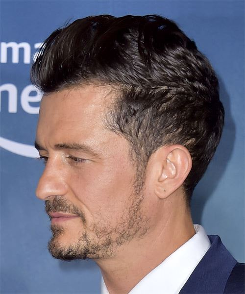 Orlando Bloom Short Straight   Black    Hairstyle with Blunt Cut Bangs  - Side View