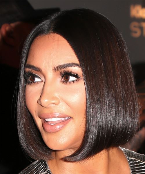 Kim Kardashian Short Straight   Black  Bob  Haircut with Blunt Cut Bangs  - Side View