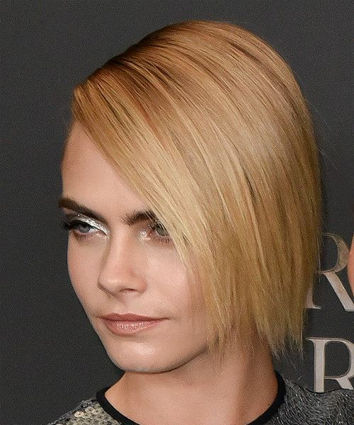 Cara Delevingne Short Straight    Blonde Asymmetrical Updo  with Blunt Cut Bangs  and Light Brunette Highlights - Side View