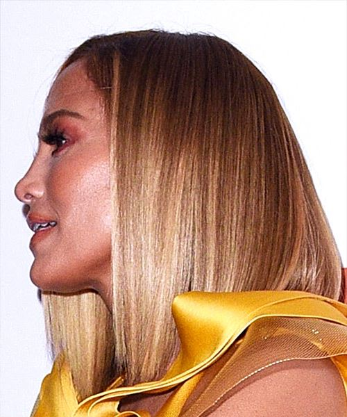 Jennifer Lopez Medium Straight    Blonde Bob  Haircut with Blunt Cut Bangs  and Dark Blonde Highlights - Side View