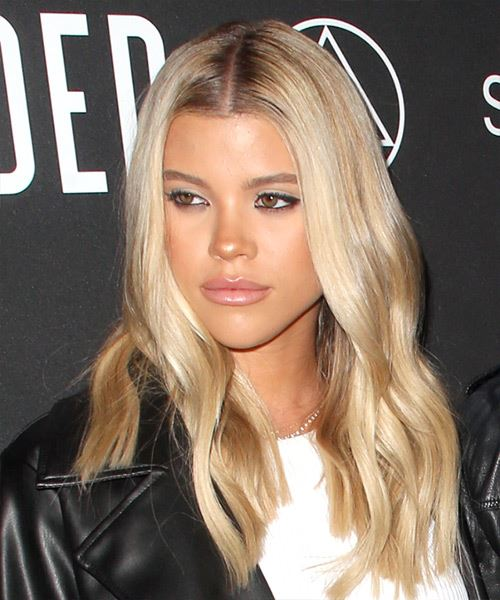 Sofia Richie Long Straight   Light Blonde   Hairstyle with Side Swept Bangs  and  Blonde Highlights - Side View