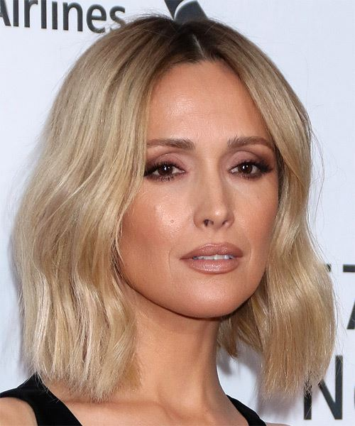 Rose Byrne Medium Straight    Blonde and Dark Brunette Two-Tone Bob  Haircut   - Side View