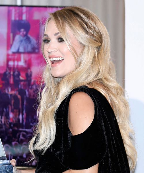 Carrie Underwood Long Wavy    Blonde   Hairstyle with Side Swept Bangs  and Light Blonde Highlights - Side View