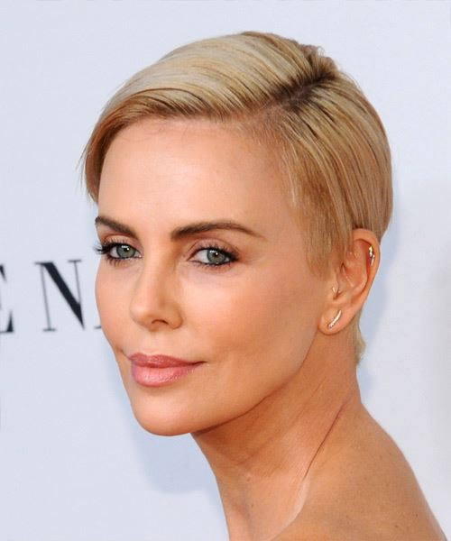 Charlize Theron      Blonde Pixie  Cut with Side Swept Bangs  - Side View