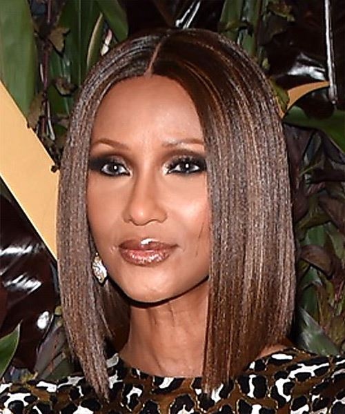Iman Medium Straight   Dark Copper Brunette Bob  Haircut with Blunt Cut Bangs  - Side View