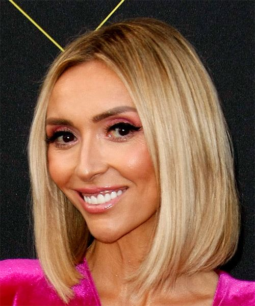 Giuliana Rancic Medium Straight    Blonde Bob  Haircut with Blunt Cut Bangs  and Light Blonde Highlights - Side View