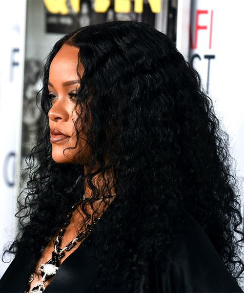 Rihanna Long Curly   Black    Hairstyle with Layered Bangs  - Side View