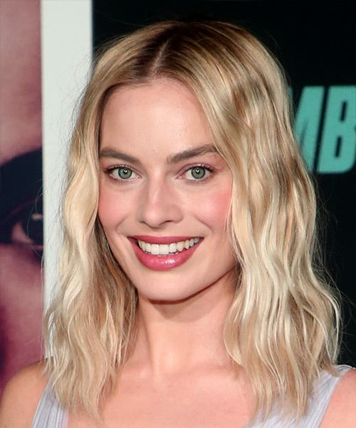 Margot Robbie Medium Wavy   Light Blonde   Hairstyle with Blunt Cut Bangs  - Side View