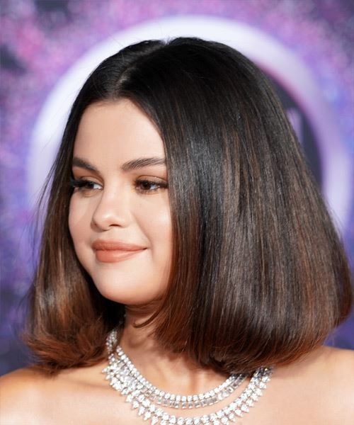 Selena Gomez Medium Straight   Dark Copper Brunette Bob  Haircut with Blunt Cut Bangs  - Side View