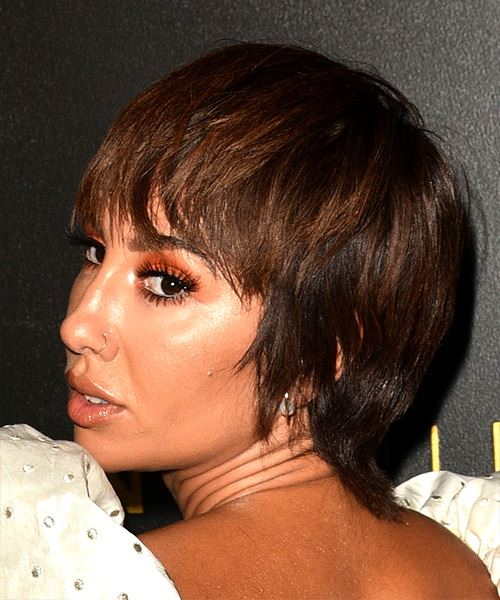Jackie Cruz Short Straight   Dark Chocolate Brunette Bob  Haircut with Blunt Cut Bangs  - Side View
