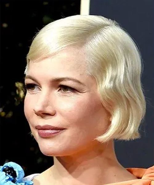 Michelle Williams     Light Golden Grey Pixie  Cut with Side Swept Bangs  - Side View