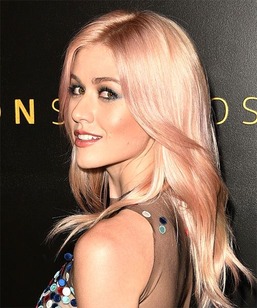 Katherine McNamara Long Straight   Pink    Hairstyle with Layered Bangs  and Light Blonde Highlights - Side View