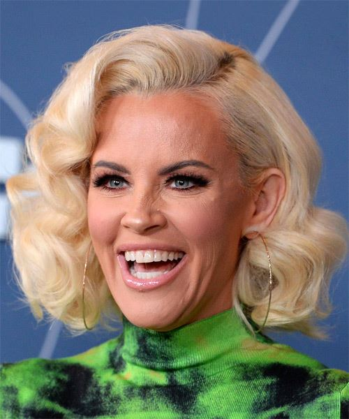 Jenny McCarthy Medium Wavy   Light Platinum Blonde Bob  Haircut with Side Swept Bangs  - Side View