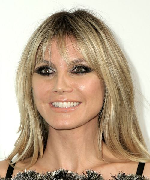 Heidi Klum Long Straight    Caramel Blonde   Hairstyle with Blunt Cut Bangs  - Side View