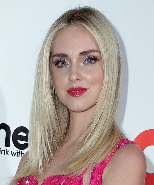 Chiara Ferragni Long Straight   Light Blonde   Hairstyle with Blunt Cut Bangs  - Side View