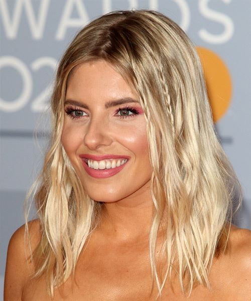 Mollie King Medium Wavy    Blonde   Hairstyle with Side Swept Bangs  - Side View