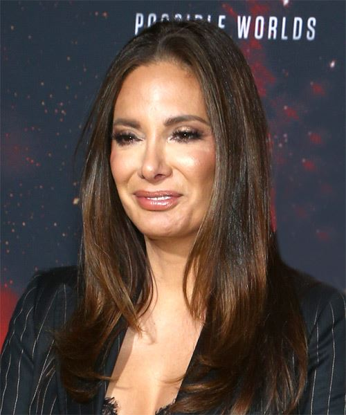 Alex Meneses Long Straight   Black Copper    Hairstyle with Layered Bangs  - Side View