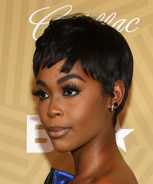 Nafessa Williams     Black  Pixie  Cut   - Side View