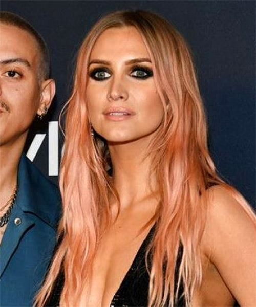 Ashlee Simpson Long Straight   Pink    Hairstyle   - Side View
