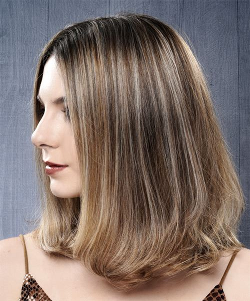 Medium Straight    Grey Brunette Bob  Haircut   - Side View