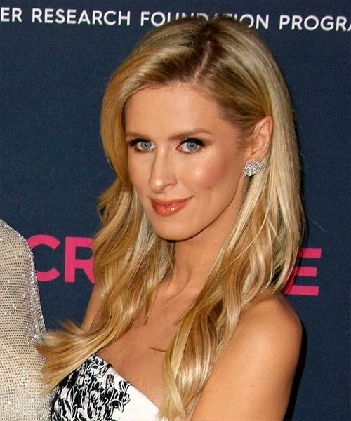 Nicky Hilton Long Straight    Blonde   Hairstyle with Side Swept Bangs  and Light Blonde Highlights - Side View