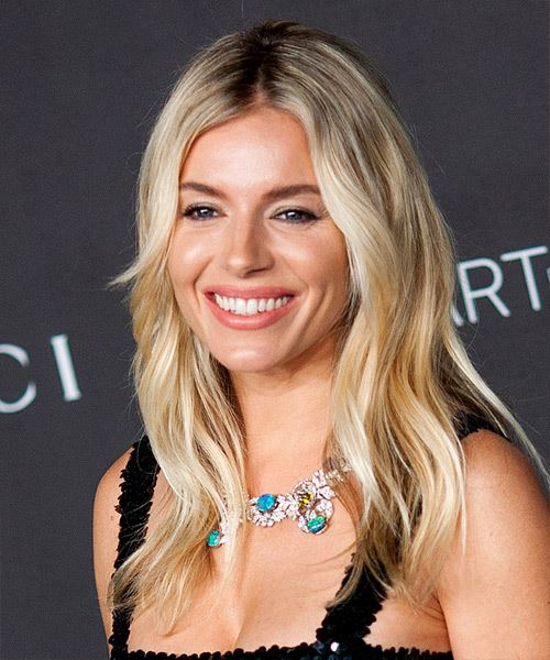 Sienna Miller Long Straight    Blonde   Hairstyle   with Light Blonde Highlights - Side View