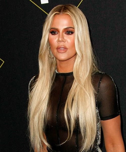 Khloe Kardashian Long Straight    Blonde   Hairstyle   - Side View
